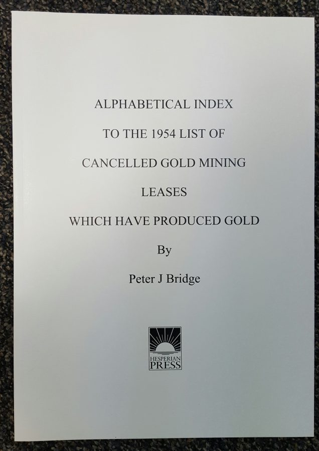 Alphabetical Index to the 1954 List of Cancelled Gold Mining Leases Which Have Produced Gold